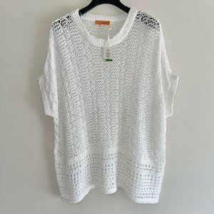 One A Ivory Short Sleeves Open Knit Crochet Top L